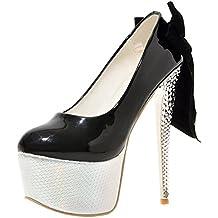 Agodor Damen Extreme Stiletto High Heels Pumps mit Schleife und Strass Plateau Moderne Party Schuhe