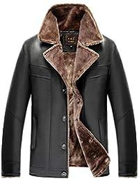 68780d331459d Hommes Mode Costume Col Business PU Chaud Épaissir Faux Manteau Cuir Jeune Vestes  Fourrure Trench Parka