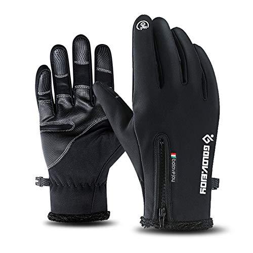 XIAOYAO Fahrradhandschuhe Vollfinger Touchscreen Winddicht Wasserdicht Outdoor Sport Handschuhe Herren Damen für Herbst oder Frühling Winter (Schwarz, XL) Block Ipod