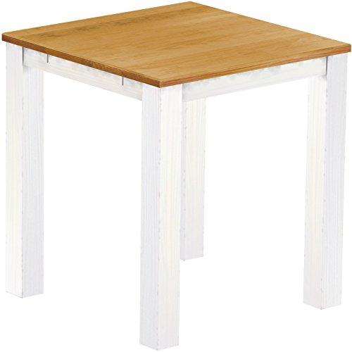 Brasil Meubles Haute Table 'Rio Classico' 120 x 120 cm, Couleur Miel – Pin Massif Blanc