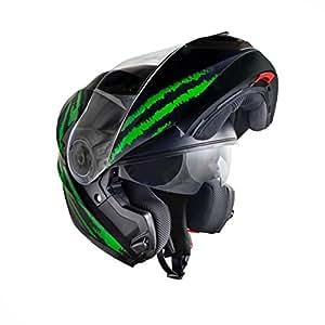 Lifestyle - Casque modulable moto scooter ville homologué intégral LS-670 avec double écran solaire pour homme femme - déco noir mat vert (M)
