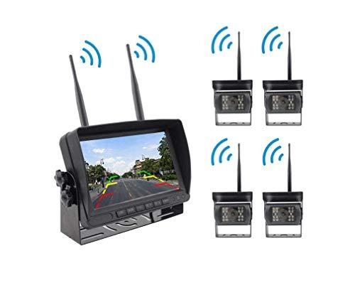 AZWE Kabellose L-Cam-Rückfahrkamera und Monitor-Kit, 7-Zoll-2,4-G-Digitalsignal mit vier geteilten Bildschirmen, Entstörung für Busse, Schulbusse und schwere Lastwagen Kit 24v Cam