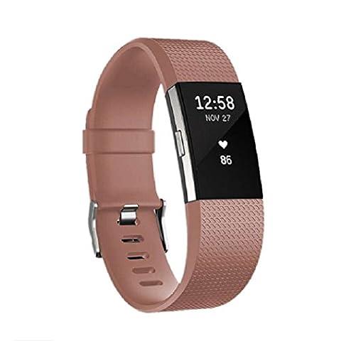 Bracelet de remplacement pour Fitbit Charge 2, en silicone avec boucle en métal, café, petit