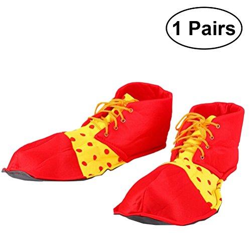 BESTOYARD Clown Schuhe Prom Leistung Requisiten Clown Schuhe Dot Halloween Kostüm Clown Schuhe für Frauen Männer 1 Paar (Rot)