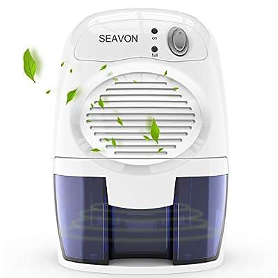 SEAVON Elektrisch Luftentfeuchter, Raumentfeuchter MD-819 für 1500 Kubikfuß, 16 Unzen Mini ruhiger sicherer Luftentfeuchter für Badezimmer, Wohnmobile, Keller, automatische Abschaltung von SEAVON bei TapetenShop