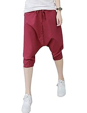 AnyuA Casual Cintura Alta Pantalón con Botón Mujer Baggy Harén