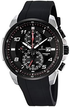 Festina CHRONO F6841/4 - Reloj de pulsera con cronógrafo para hombre (mecanismo de cuarzo, esfera negra y correa de caucho negro)