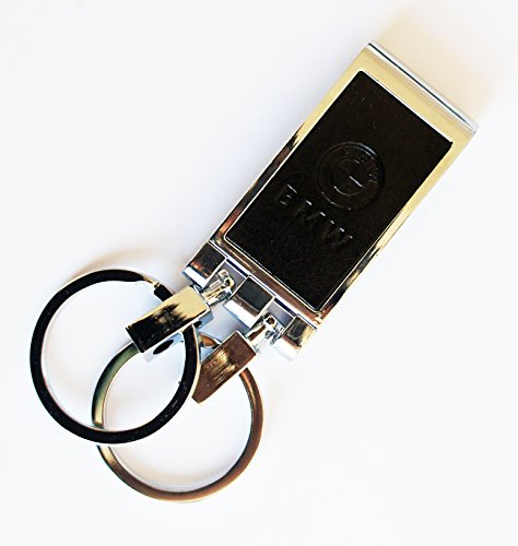 831-bmw-piel-elegante-ancho-cinturon-de-doble-bucle-gancho-hebilla-llavero-negro