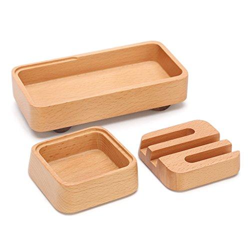 Holz Stifthalter Mode einfach Erstellt Multifunktions Schreibtisch Desktop Aufbewahrungsbox Dreiteilige Kombination