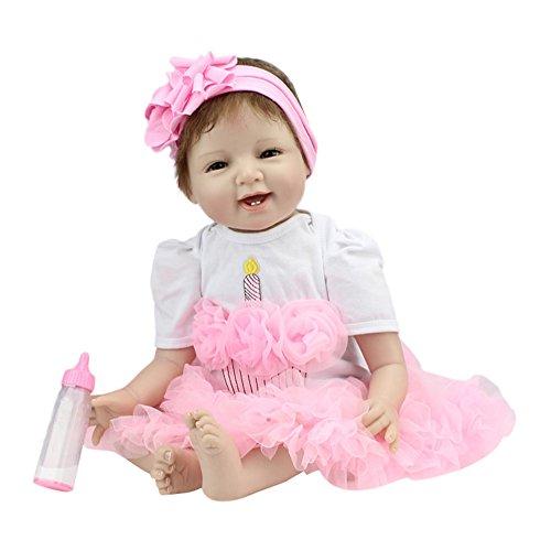 DOGZI Reborn Bebé de Cuerpo Entero de Silicona de Vinilo Hecho a Mano Cuerpo de la niña de la muñeca Rebote más Popular Preferido Regalo de cumpleaños de Juguete Navidad Regalo