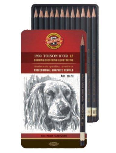 KOH-I-NOOR - Toison 1900 Graphitstifte - Bleistifte - 8B bis 2 H - 12er Set