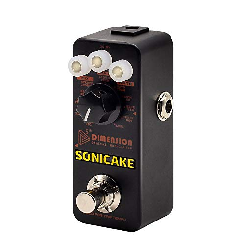 SONICAKE 5th Dimension Digital Modulation Effects Pedal w/h 11 Effects of Phaser, Flanger, Chorus, Tremolo, Vibrato, Autowah & Sampling