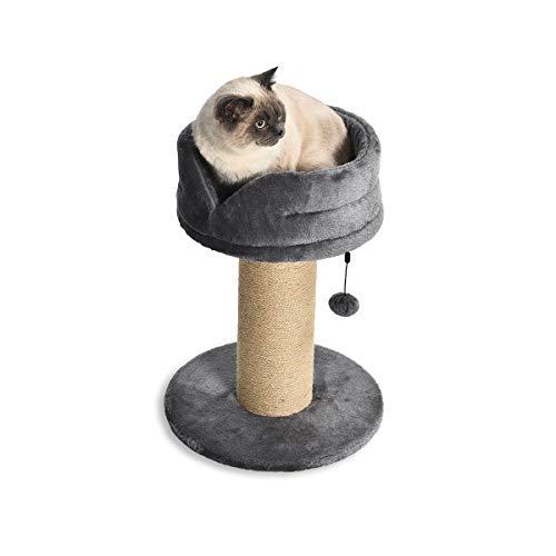 AmazonBasics - Albero per gatti grande, con palo tiragraffi e piattaforma con letto, 40,6 x 40,6 x 53,34 cm, grigio