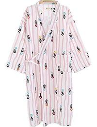 YTFOPLK Raya Fresca Flores Kimono Batas De Baño Verano Gasa De Algodón Fino Ocasional Floral Mujeres Camisones Japoneses Batas…