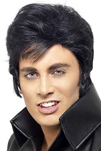 Smiffys Herren Elvis Perücke, One Size, Schwarz, - Elvis Kostüm Schwarz