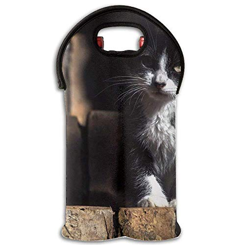 Black Kitten Angry Wine/Water Two Bottles Tote Full Printed Portable Bag Multicolor6