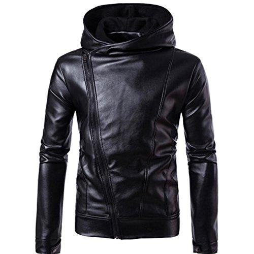 Kaiki Männer Künstliche Leder jacke Windbreaker Herbst Winter Biker Motorrad Reißverschluss Outwear Warm Mantel (M, Black) (Mäntel Leder Mann Für Den Aus)