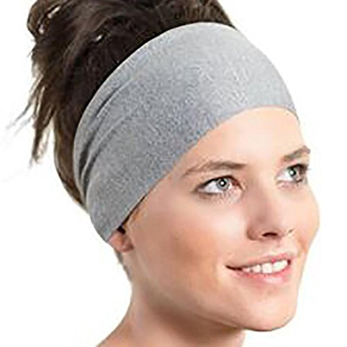 OHQ Bande De Cheveux Couleur Pure Femmes Courant Le Bandeau Large Bleu Noir Vin Gris Rose Vert Violet Dames Sports Yoga Sweatband Gym Stretch (Gris)