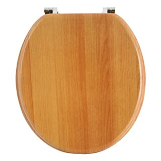 Anika Antique Pine Effect Toilet Seat with Chrome Plated Hinges