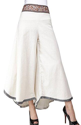 Feoya Damen Freizeithosen Weite Beinen Hosen Baumwolle Leinen Gerade Hosen Starandhose Palazzo Hosen Einfarbig Hipster Style (Bein Weites Hose Hohe Taille Leinen)