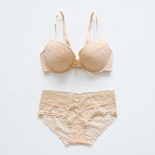 5f37c8c41bf8 ZHFC-Close to Europe and America simple sexy lace thin comfortable fake  perspective bra set lingerie Bo Xia Skin colour 80C