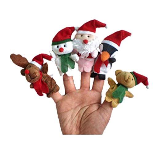 Weihnachten Spielzeug Fingerpuppe Weihnachtsschmuck Rentiere, Schneemann, Weihnachtsmann, Teddybären und Pinguine, jeweils 5 Stück Niedliche, lustige und lustige Spielzeuge, die es wert sind