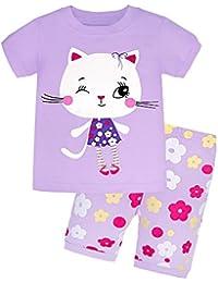 9727405db58cc Backbuy Été Enfant Fille Manche Courte Ensemble de Pyjama Chat 2-7ans