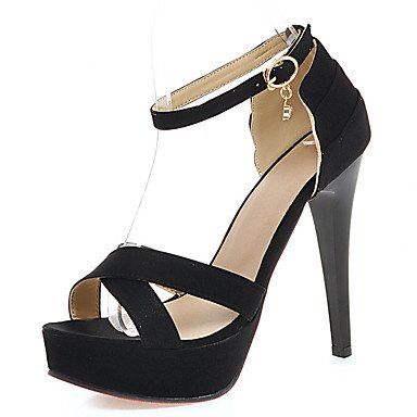 LFNLYX Sandales femmes Chaussures Club d'ÉTÉ D'Orsay & Deux-pièces bleu Mariage & Robe de Soirée Strass talon aiguille rouge BuckleBlack Red