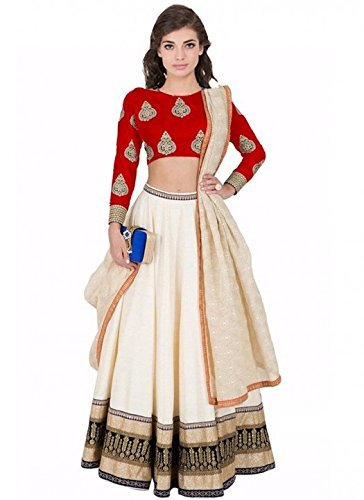 Varona Creation Women's Party Wear Lehenga Choli (Color: Red And Cream Free...
