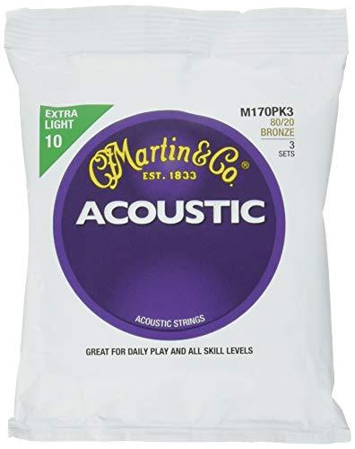 Martin 6-Saiten-Satz für Akustikgitarren, 80/20 Bronze, Stärke Extra Light .010-.047, 3er Pack