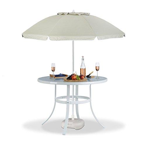 Sonnenschirm Tisch Set (3 tlg. Gartentisch Set Sommer, Gartentisch, Sonnenschirm, Schirmständer, Glastisch, Gartenschirm, Sonnenschirmständer)