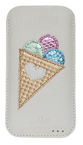 mabba® iPhone Tasche Ledertasche für das iPhone 6/6s und 7 als auch iPhone 6/6s und 7 Plus aus Leder -Summerlove- Handmade (iPhone 7 Plus, weiß)