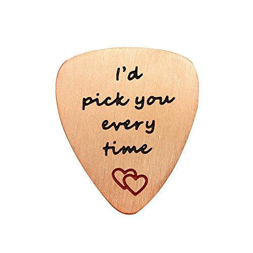Valentine Best Friend Gitarre Plektrum Graduierung Geschenke Herz Anhänger I 'd Pick You Every Time Edelstahl Rose Gold