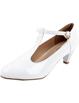 AgeeMi Shoes Donna Medio Scarpe col Tacco Cinturino a T Donna Scarpette Taglia