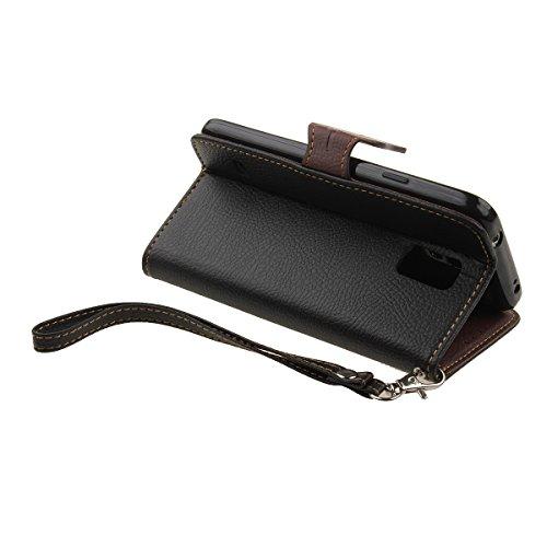 Custodia per iPhone 6 6S, Cover per iPhone 6 6S, Felfy 3D Elegante borsa in pelle Magnetico Portafoglio PU Flip Custodia Case Cover Stand Protezione chiusura ventosa della Natura Foglia Design con Lan Nero