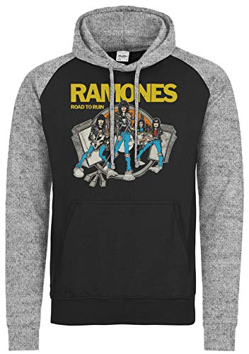 LaMAGLIERIA Sudadera Baseball Unisex Ramones Road To Ruin Cod Rs03 - Sudadera con Capucha Punk Rock Band, S, Charcoal/Light Grey
