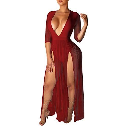 Frau Schläger-tank-shirt (Markthym Frau Mode sexy tiefem V-Ausschnitt Mesh halbarm beinloses Kleid Explosion Modelle sexy europäischen tiefem V-Ausschnitt Mesh halbarm beinloses Kleid)