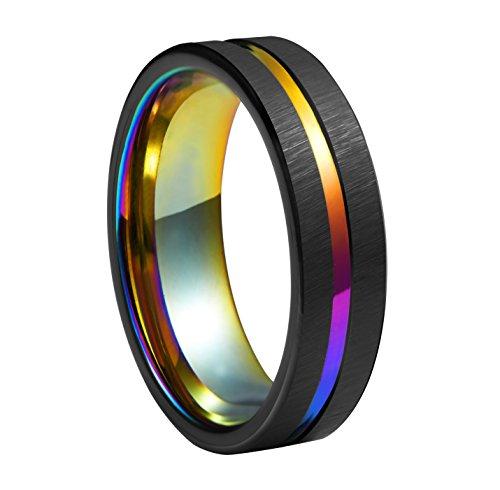 Queenwish, anello in tungsteno da 6 mm, nero spazzolato e gradiente di colore arcobaleno, fede nuziale scanalata, vestibilità comoda, arcobaleno lucido, anello di fidanzamento per coppie e tungsteno, 12,5, colore: nero , cod. qwtura-6424065-uk