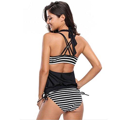 PU&PU Frauen-Strand-Halter-Bikinis drei Stücke gesetztes Badeanzug-Streifen-Drucken drahtloser gefüllter Büstenhalter-Strand #4