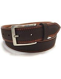 GIUSEPPE FERRI 53 ceinture décontracté Jeans   pantalon Homme Cuir Marron  Nubuck Italien avec boucle Métallique 811fa76a838