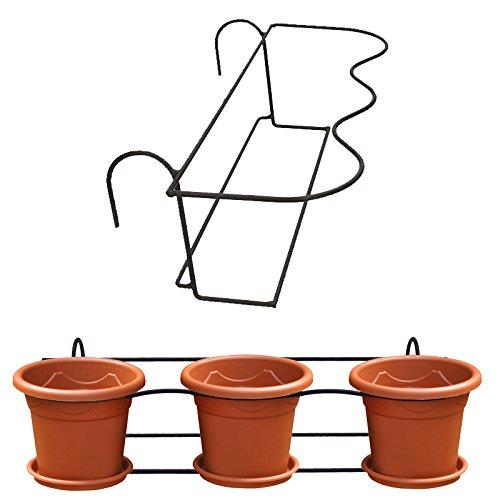 halterung f r 3 blument pfe blumentopfhalter balkon terrasse halter blumenst nder. Black Bedroom Furniture Sets. Home Design Ideas