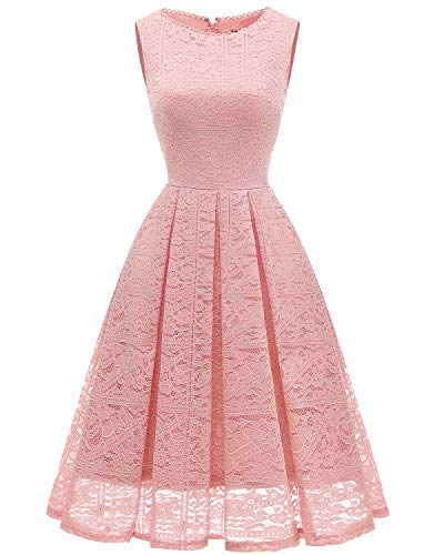 bridesmay Damen Elegant Cocktailkleid Spitzen Ärmellos Brautjungfern Kleid Midi Ballkleid Blush XL
