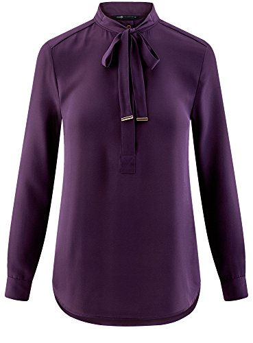 oodji Collection Donna Camicetta Larga con Laccetti Viola (8800N)