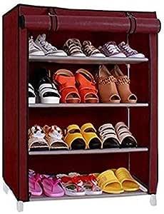 BUCKETLIST® Multipurpose Portable Folding Shoe Rack 4/5 Shelves Organizer with Cover, Metal Frame Plastic Connectors, Home Furniture (Maroon)