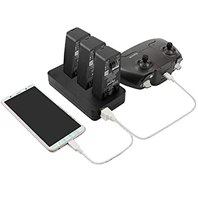 Tineer Parrot Anafi Battery 2-in-1 Home Charger & Car Charger, Parallel Charging Multi Battery Charger Station Hub for Parrot Anafi Drone Accessory