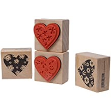4pcs Sello Estampado En Relieve De Flor Corazón Amor De Vendimia Sello De Goma Madera DIY