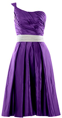 MACloth Women One Shoulder Satin Short Bridesmaid Dress Cocktail Party Gown Violett