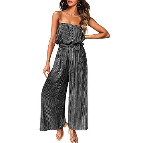 UOWEG Kleid Damen Klassischer Jumpsuit mit Streifendruck Ärmellose Clubwear-Hose mit weitem Bein - Lace Peplum Kleid