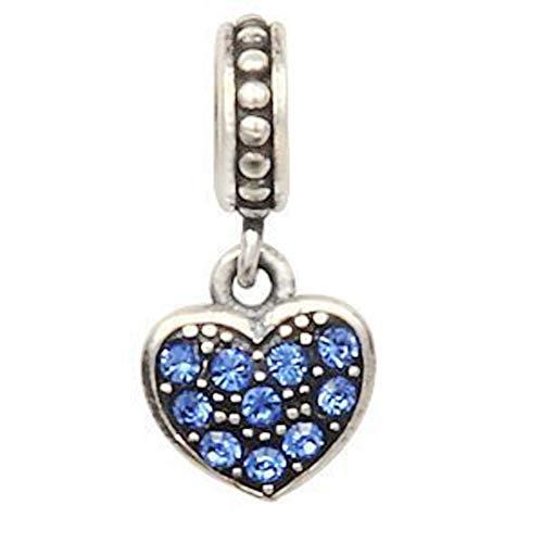 Andante-stones argento massiccio sterling 925 perlina pavé charm pendenti cuore con zirconi scintillanti (zaffiro) ciondolo da donna charm bead per bracciali e collane europei + sacchetto di organza