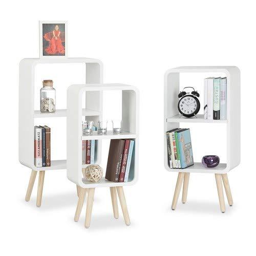 3er Set, Wohnzimmerregale zur Aufbewahrung mit je 2 Fächern, MDF Holzregal in 3 Größen, weiß ()